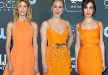 Laura Dern, Alison Brie and Rachel Brosnahan Match in Bright-Orange Dresses at the Critics' Choice